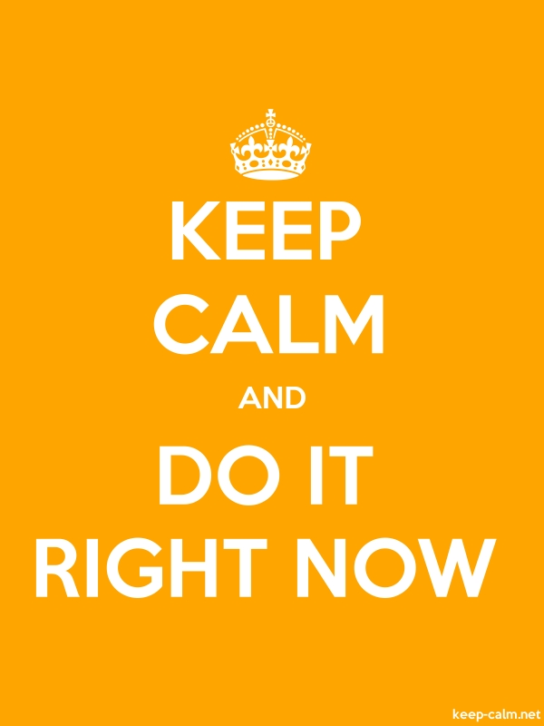 KEEP CALM AND DO IT RIGHT NOW - white/orange - Default (600x800)
