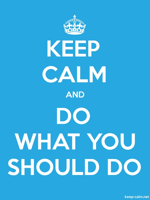 KEEP CALM AND DO WHAT YOU SHOULD DO - white/blue - Default (600x800)