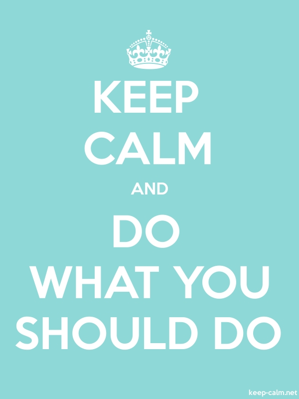 KEEP CALM AND DO WHAT YOU SHOULD DO - white/lightblue - Default (600x800)