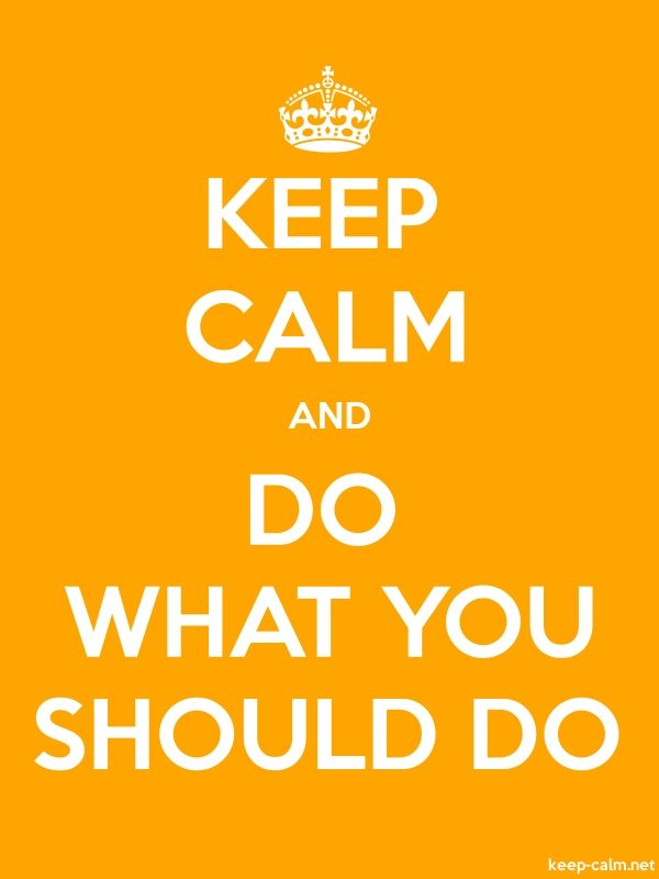 KEEP CALM AND DO WHAT YOU SHOULD DO - white/orange - Default (600x800)