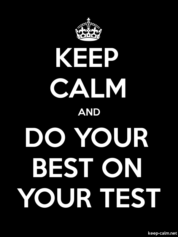 KEEP CALM AND DO YOUR BEST ON YOUR TEST - white/black - Default (600x800)