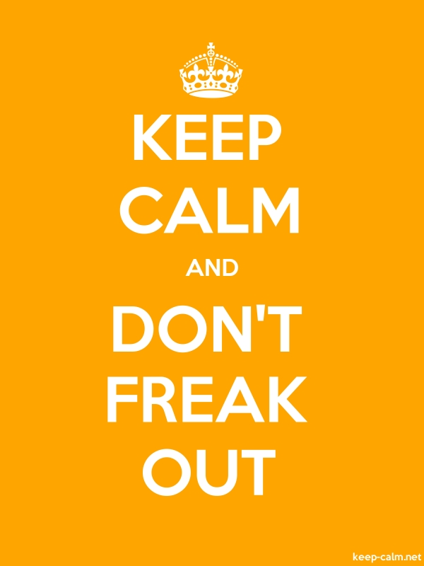 KEEP CALM AND DON'T FREAK OUT - white/orange - Default (600x800)