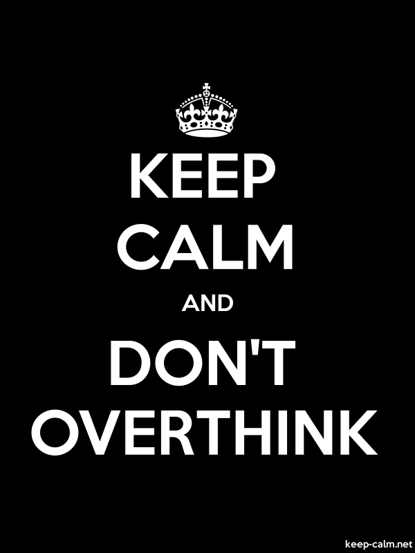 KEEP CALM AND DON'T OVERTHINK - white/black - Default (600x800)