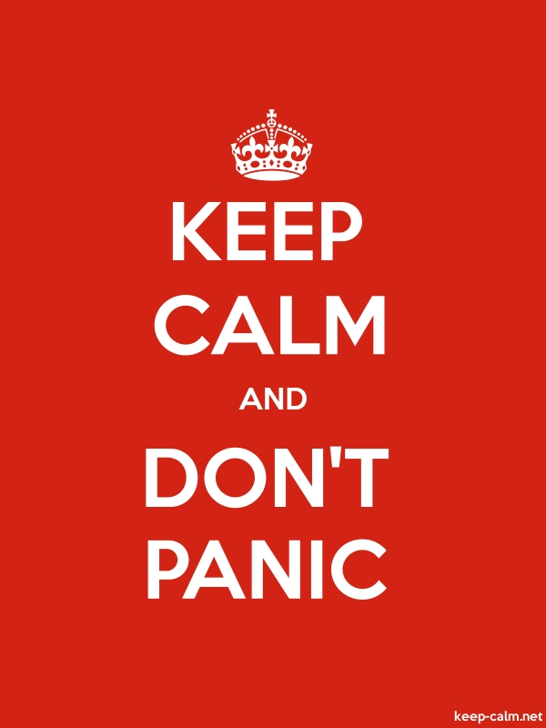 KEEP CALM AND DON'T PANIC - white/red - Default (600x800)