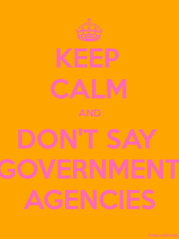 KEEP CALM AND DON'T SAY GOVERNMENT AGENCIES - pink/orange - Default (600x800)