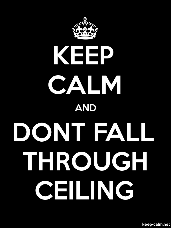 KEEP CALM AND DONT FALL THROUGH CEILING - white/black - Default (600x800)