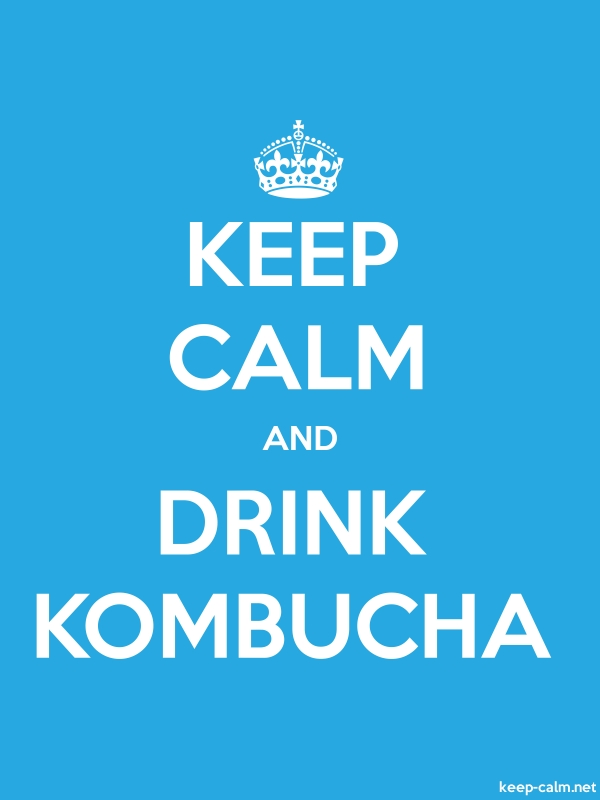 KEEP CALM AND DRINK KOMBUCHA - white/blue - Default (600x800)