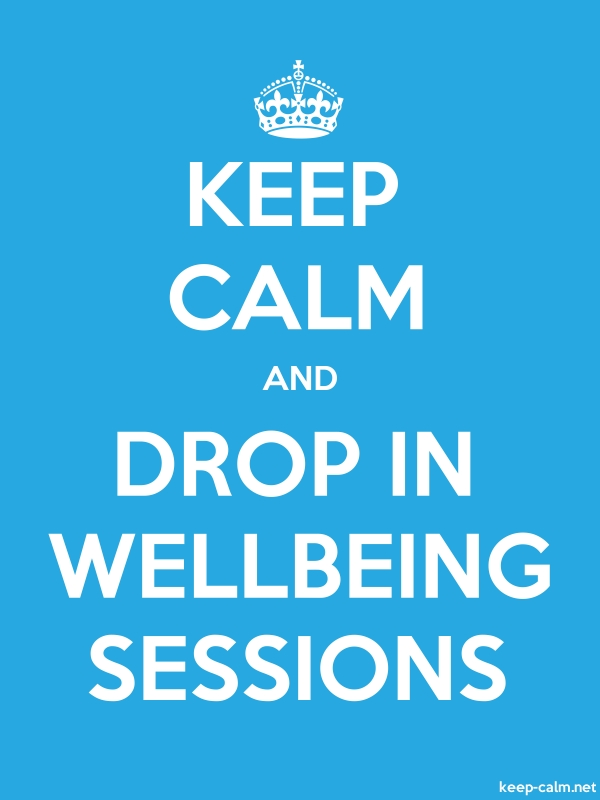 KEEP CALM AND DROP IN WELLBEING SESSIONS - white/blue - Default (600x800)