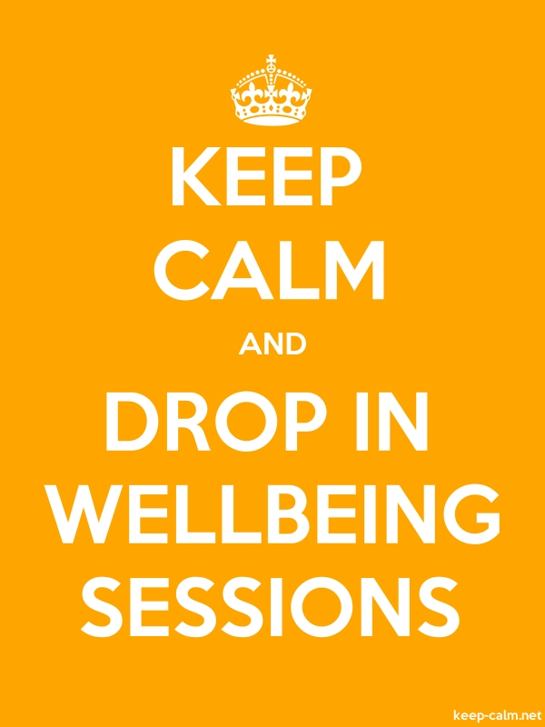 KEEP CALM AND DROP IN WELLBEING SESSIONS - white/orange - Default (600x800)