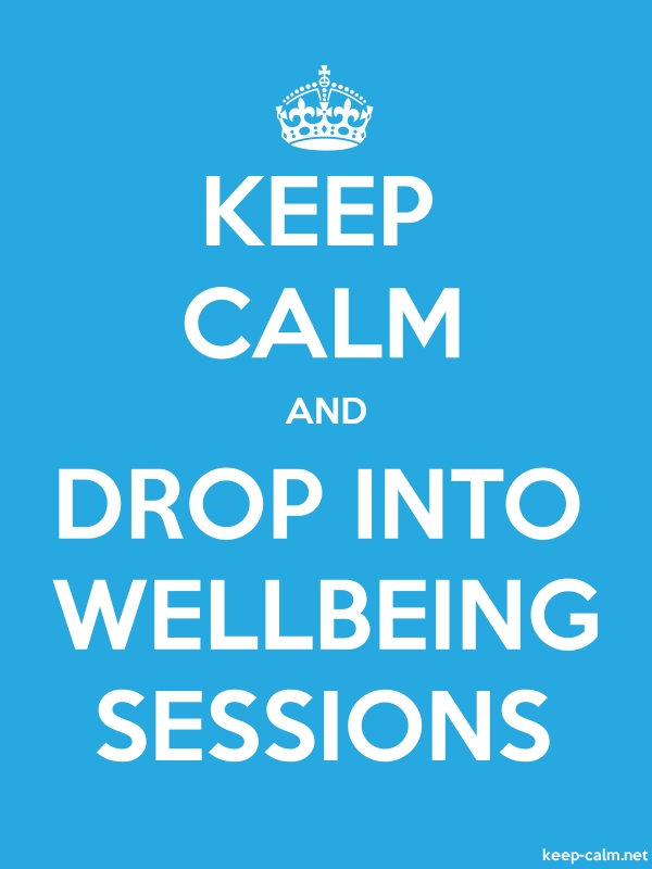 KEEP CALM AND DROP INTO WELLBEING SESSIONS - white/blue - Default (600x800)