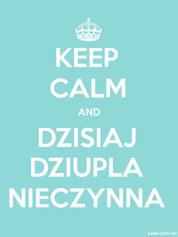 KEEP CALM AND DZISIAJ DZIUPLA NIECZYNNA - white/lightblue - Default (600x800)