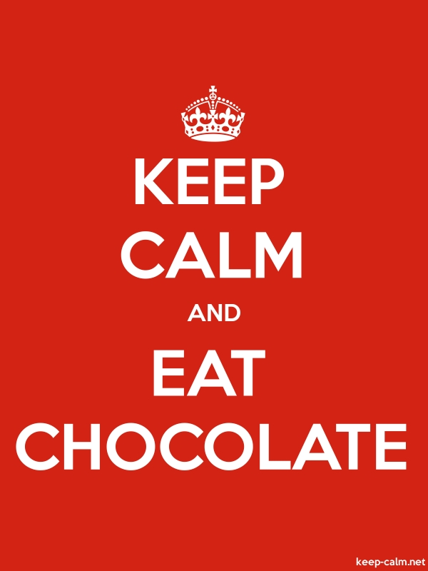 KEEP CALM AND EAT CHOCOLATE - white/red - Default (600x800)