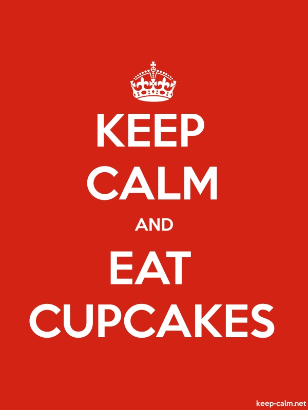 KEEP CALM AND EAT CUPCAKES - white/red - Default (600x800)