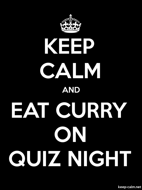 KEEP CALM AND EAT CURRY ON QUIZ NIGHT - white/black - Default (600x800)