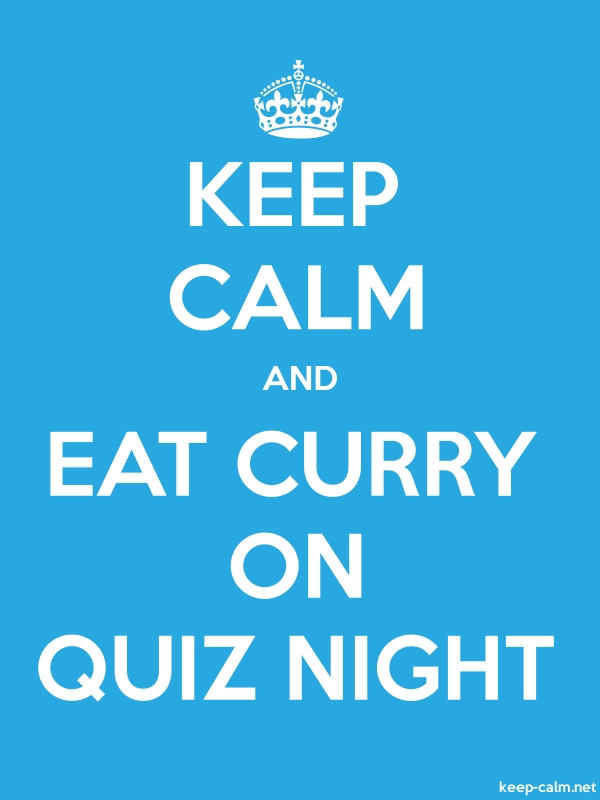 KEEP CALM AND EAT CURRY ON QUIZ NIGHT - white/blue - Default (600x800)