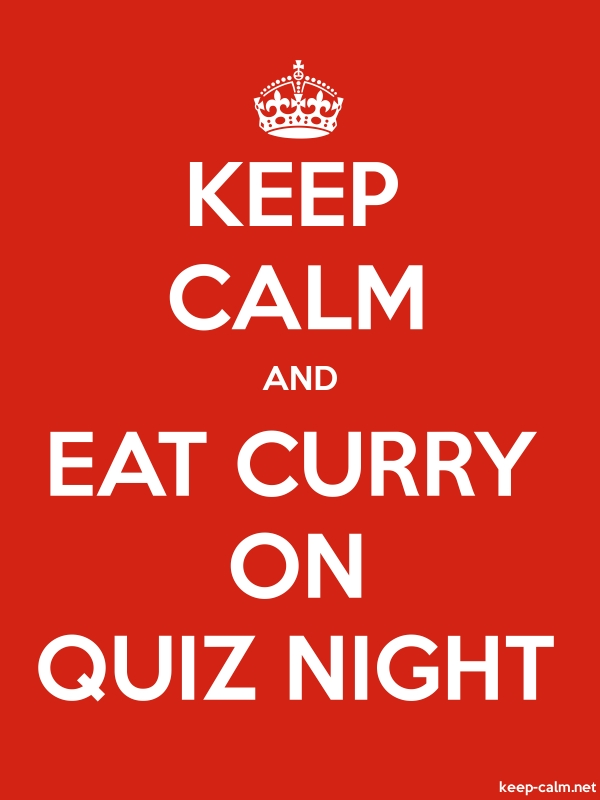 KEEP CALM AND EAT CURRY ON QUIZ NIGHT - white/red - Default (600x800)
