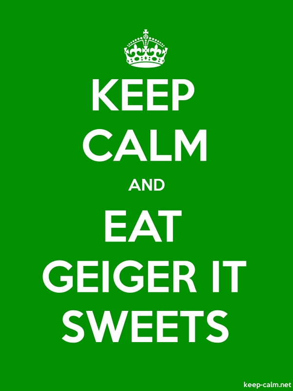 KEEP CALM AND EAT GEIGER IT SWEETS - white/green - Default (600x800)