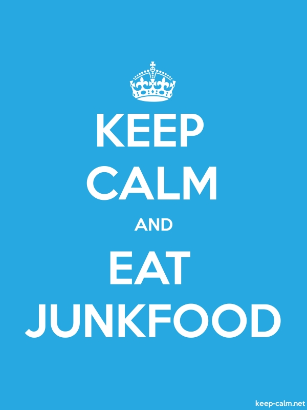 KEEP CALM AND EAT JUNKFOOD - white/blue - Default (600x800)
