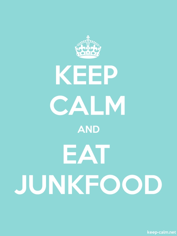 KEEP CALM AND EAT JUNKFOOD - white/lightblue - Default (600x800)