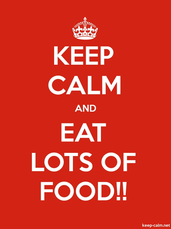 KEEP CALM AND EAT LOTS OF FOOD!! - white/red - Default (600x800)