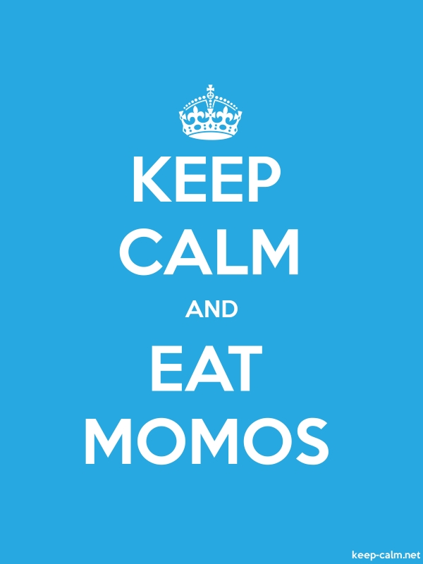 KEEP CALM AND EAT MOMOS - white/blue - Default (600x800)
