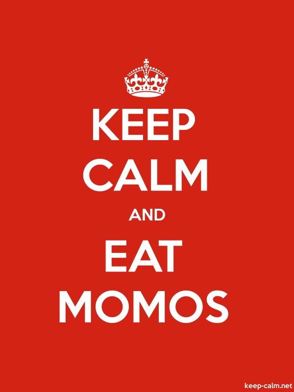 KEEP CALM AND EAT MOMOS - white/red - Default (600x800)