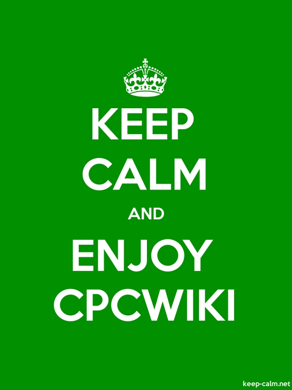 KEEP CALM AND ENJOY CPCWIKI - white/green - Default (600x800)