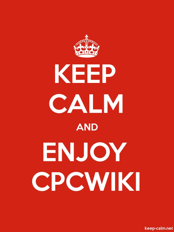 KEEP CALM AND ENJOY CPCWIKI - white/red - Default (600x800)