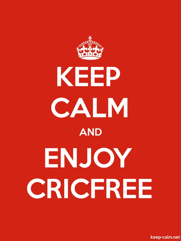 KEEP CALM AND ENJOY CRICFREE - white/red - Default (600x800)