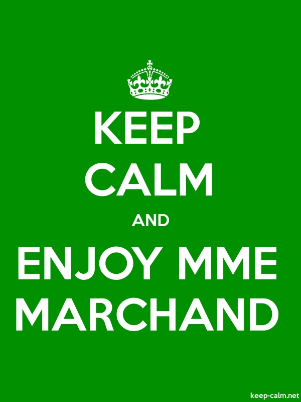 KEEP CALM AND ENJOY MME MARCHAND - white/green - Default (600x800)