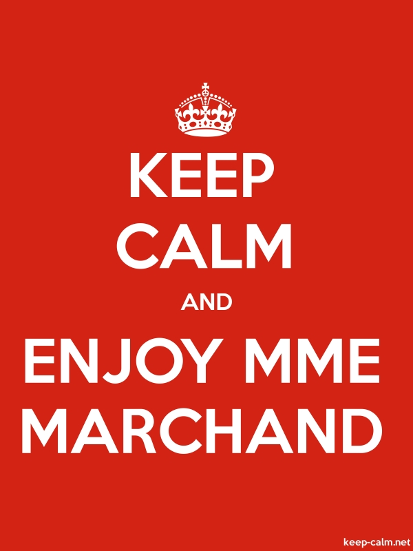 KEEP CALM AND ENJOY MME MARCHAND - white/red - Default (600x800)