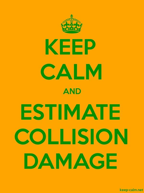 KEEP CALM AND ESTIMATE COLLISION DAMAGE - green/orange - Default (600x800)