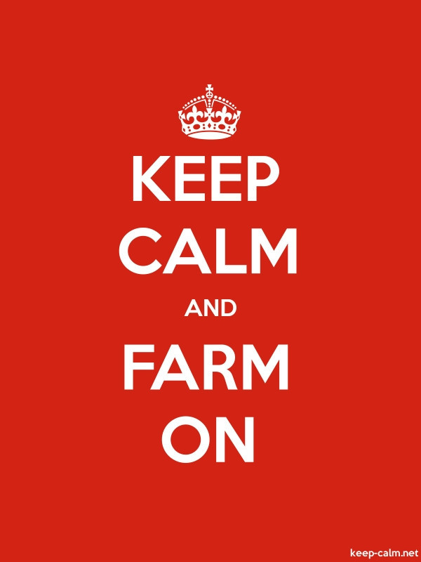 KEEP CALM AND FARM ON - white/red - Default (600x800)