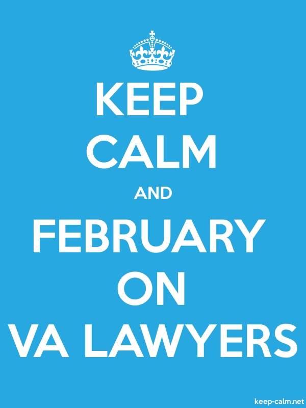 KEEP CALM AND FEBRUARY ON VA LAWYERS - white/blue - Default (600x800)