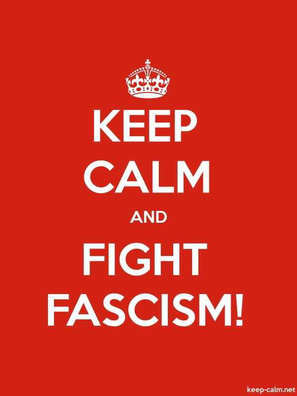 KEEP CALM AND FIGHT FASCISM! - white/red - Default (600x800)