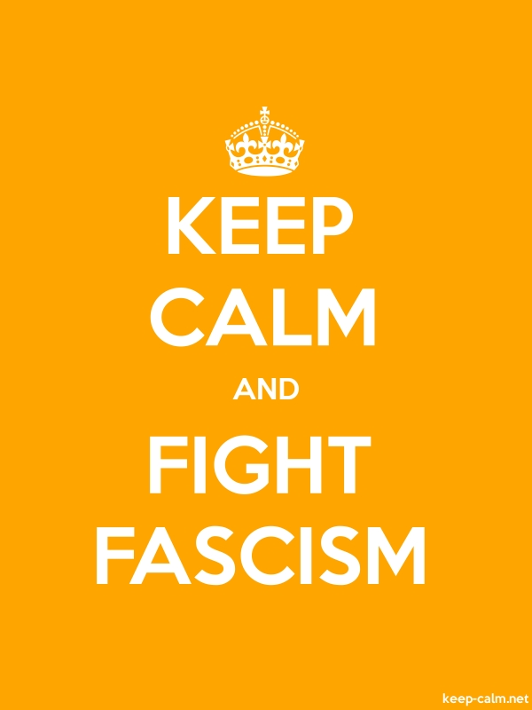 KEEP CALM AND FIGHT FASCISM - white/orange - Default (600x800)