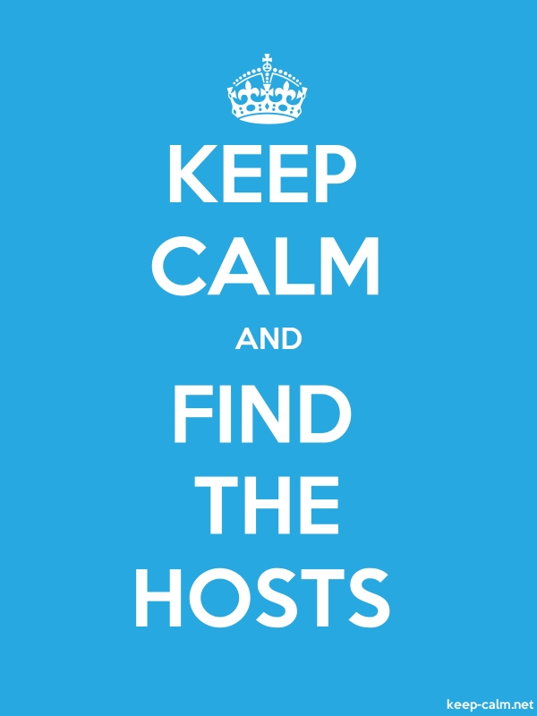 KEEP CALM AND FIND THE HOSTS - white/blue - Default (600x800)