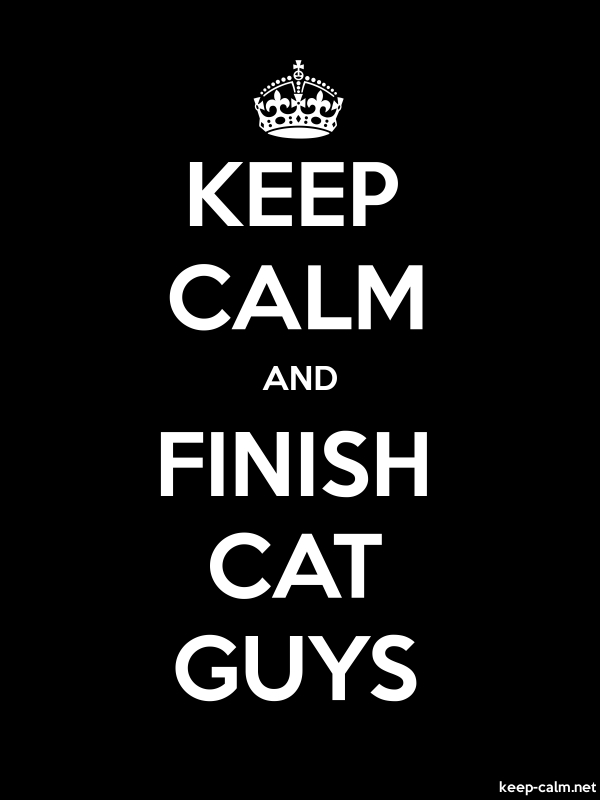 KEEP CALM AND FINISH CAT GUYS - white/black - Default (600x800)
