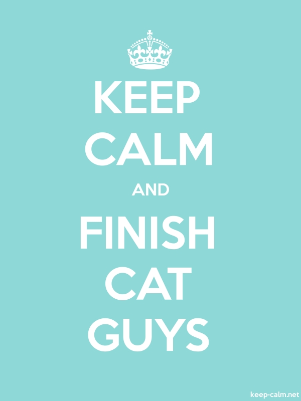 KEEP CALM AND FINISH CAT GUYS - white/lightblue - Default (600x800)