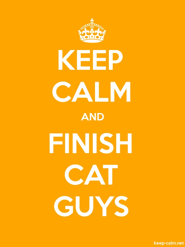 KEEP CALM AND FINISH CAT GUYS - white/orange - Default (600x800)