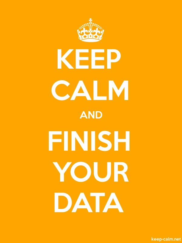 KEEP CALM AND FINISH YOUR DATA - white/orange - Default (600x800)