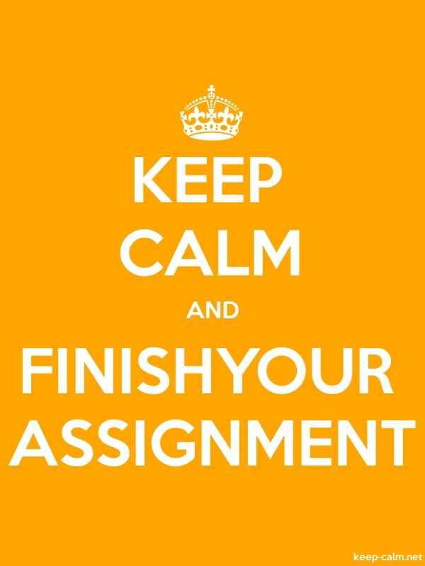 KEEP CALM AND FINISHYOUR ASSIGNMENT - white/orange - Default (600x800)
