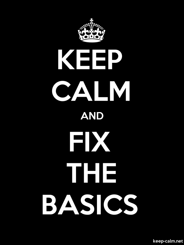 KEEP CALM AND FIX THE BASICS - white/black - Default (600x800)