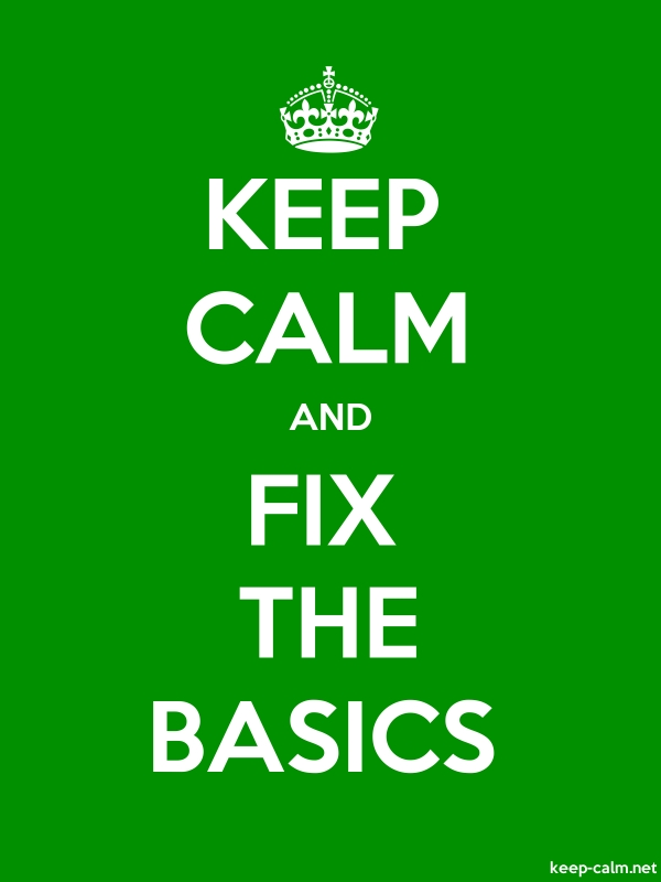 KEEP CALM AND FIX THE BASICS - white/green - Default (600x800)