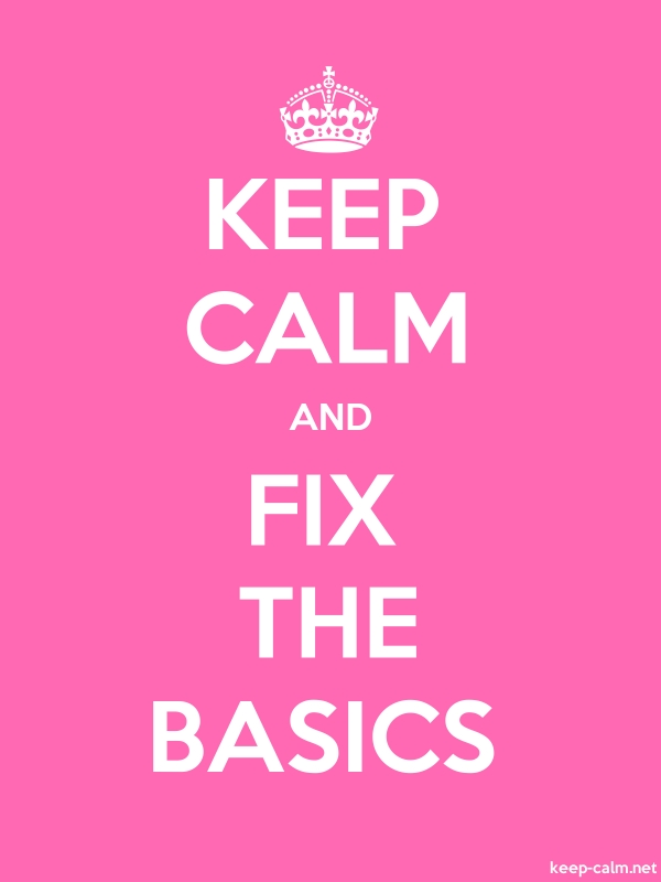 KEEP CALM AND FIX THE BASICS - white/pink - Default (600x800)