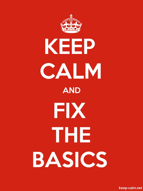KEEP CALM AND FIX THE BASICS - white/red - Default (600x800)