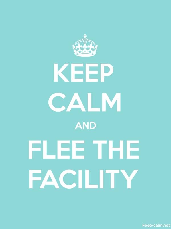 KEEP CALM AND FLEE THE FACILITY - white/lightblue - Default (600x800)