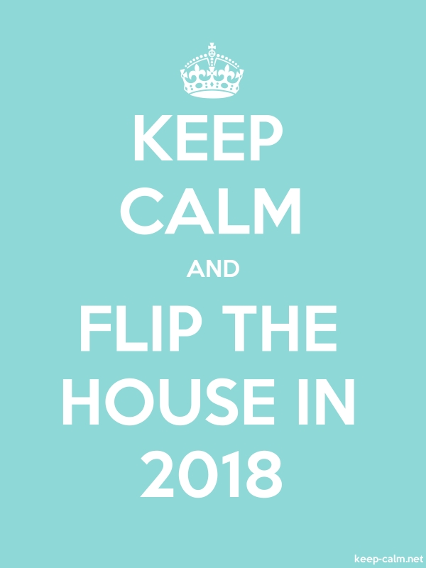 KEEP CALM AND FLIP THE HOUSE IN 2018 - white/lightblue - Default (600x800)