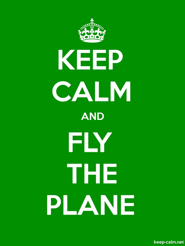 KEEP CALM AND FLY THE PLANE - white/green - Default (600x800)