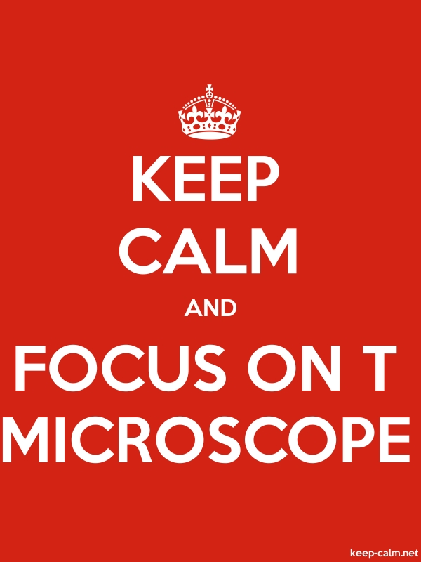 KEEP CALM AND FOCUS ON T MICROSCOPE - white/red - Default (600x800)